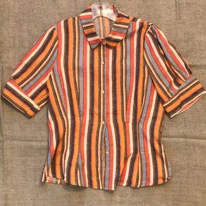 Striped button down blouse